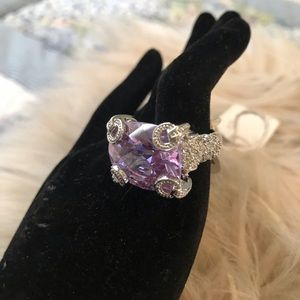 Silver Plated Lavender CZ Ring Size 7